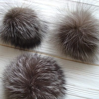 Real Silver Fox Fur Pom Poms