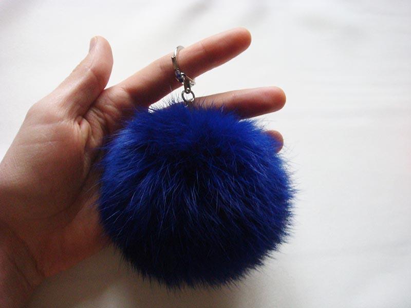 Navy blue pom pom keychain