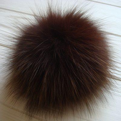 Dark and light brown arctic fox fur pom pom