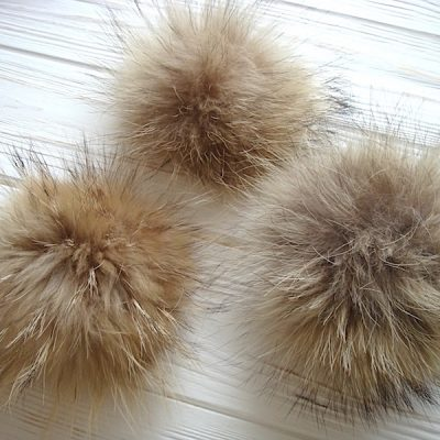 Real Raccoon Fur Pom Poms